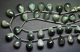 Jewel Beads Natural Beautiful jewellery 8 Inches Strand,Superb-Finest Quality,Green Cat's Eye Faceted Drops Briolettes,8-9mm LongCode:- JBB-38269