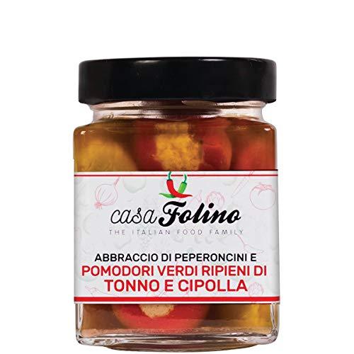 Abono de pimientos y tomates verdes, relleno de atún y cebolla, 290 g, una mezcla de ingredientes de primera calidad, con sabor rico y adorable. Fabricado en Italia.