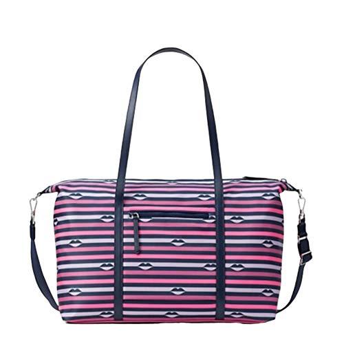 Kate Spade Jae Nylon Luggage Weekender Lip Print Large Handbag
