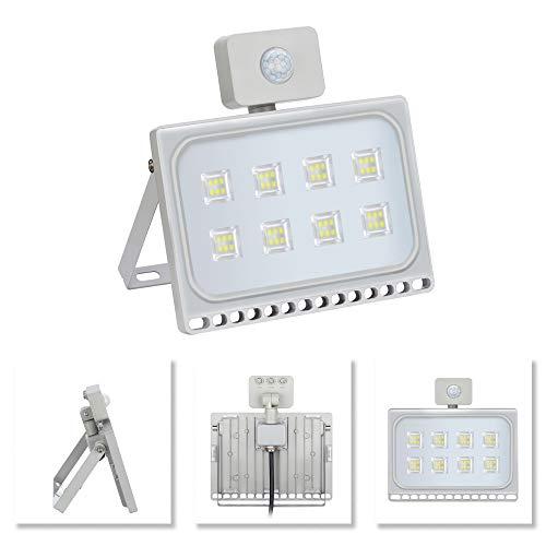 Yuanline faretto proiettore LED, rilevatore di movimento, ultrasottile, per interni e esterni, impermeabilità IP67,per giardino, Cortile, terrazza, piazza, fabbrica 50W Bianco freddo