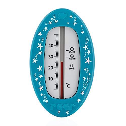 Reer Baby-Thermometer für die Badewanne mit süßem Unterwasserwelt-Motiv, kindersicheres Bade-Thermometer