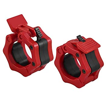 SPR-WL Barbell Clamps,Pair of Barbell Clamps Collars 2 inch,Quick Release Locking Professional Olympic Weight Barbell Locks Collar Clips Great for Deadlifts,Weightlifting Bench Press,Deep Squat-Red