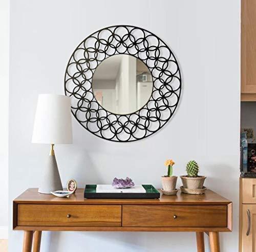 BAUPOR Lima Miroir mural en métal Design unique Miroir décoratif pour entrée, salon, salle de bain, bureau, œuvre d'art moderne Cadre noir 50 x 50 cm (Argent)