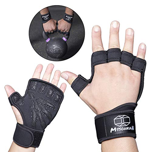 MSSOHKAN Gym Gloves Weight Lifting Gloves Exercise Gloves for Men & Women. Fitness Gloves with Full Palm Silicone Padding and Extended Wrist Wraps.Workout Gloves 、Pull-up、Cross Training.(Pair) (L)