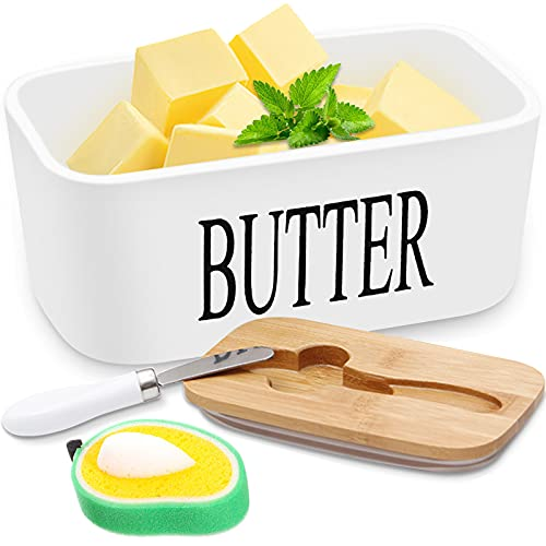 Plato de mantequilla,Caja de Mantequilla con Tapa y cuchillo,con esponja limpiadora,Recipiente Hermética para Todo Tipo de Mantequilla,16.5 * 10 * 7.5cm recipiente de mantequilla