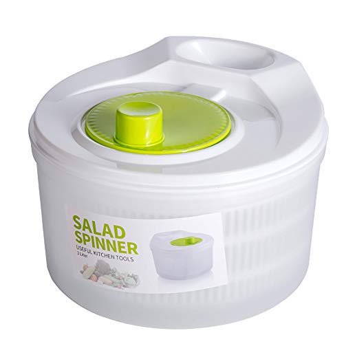 Salad Spinner Large for kitchen Drain Lettuce Washer Easily Dryer, Fruits and Vegetables Dryer Quick Dry dishwasher safe, Easy One-Hand Pump Operation(White)