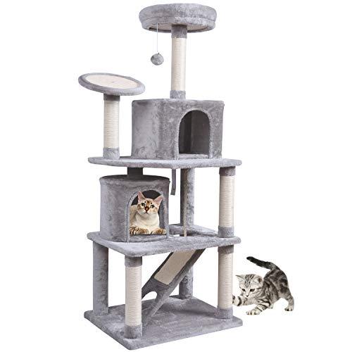 MC Star Robuster Kratzbaum 161cm hoch Kletterbaum für Große Katzen Katzenfamilie mit 2 Geräumigen Höhlen, Verdickten Liegeflächen, Mehreren Kratzbretter und Spielzeug, Hellgrau