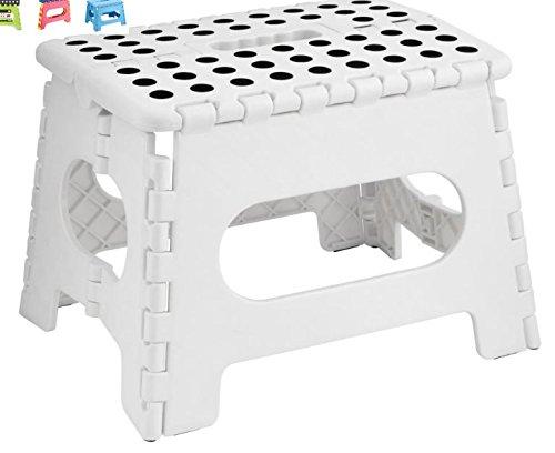 Plastique Petit Multi Usage Pliant Pliable Rangement Facile Escabeau - Blanc