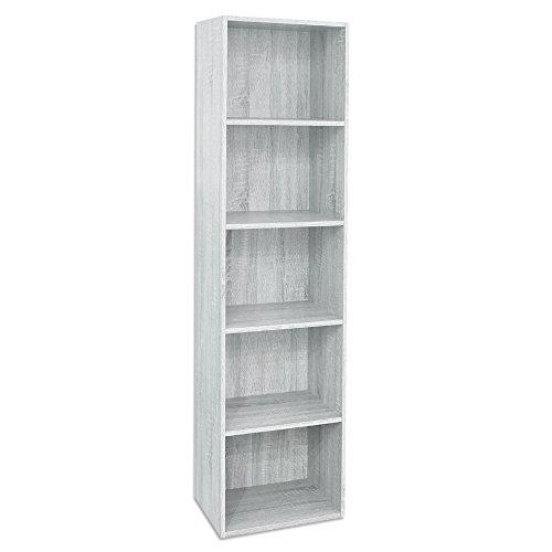 Divina Home Libreria 5 3 ripiani bianca scaffale in legno arredamento DH52197