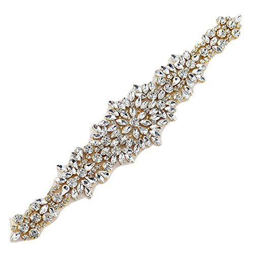 """Stunning Bridal Crystal Applique for Wedding Dress-Beaded Rhinestone Belts-Gold-1 Piece-(11.6"""" 2.3"""" in)"""