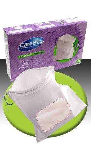 CARE BAG 1 confezione = 20 sacchetti con tampone. SACCHETTO ASSORBENTE PER VOMITO. Anche nei modelli: copri padella, copri cestino comoda, pappagallo urinale maschile, Copri WC.