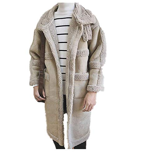 Trenchcoat Herren Oversizeemens Mantel Kontrast Männer Warme Winterjacke Immitation Lamm-Fleecemantel Herren Gr. M, khaki