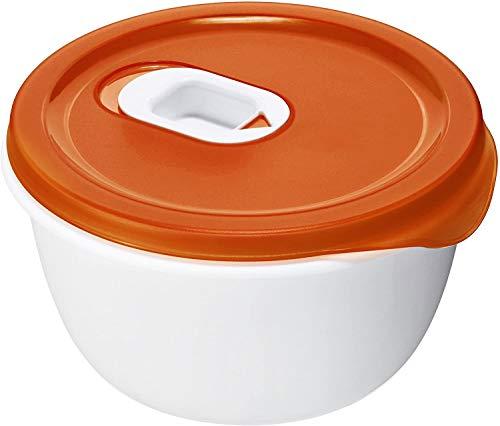 Rotho Micro Clever Mikrowellen-Schüssel 0,8l mit Deckel und Ventil, Kunststoff (PP) BPA-frei, rot/weiss, 0,8l (16,0 x 16,0 x 8,5 cm)