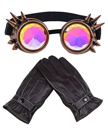 Steampunk - Guantes de piel sintética para hombre, color marrón, talla 9,...
