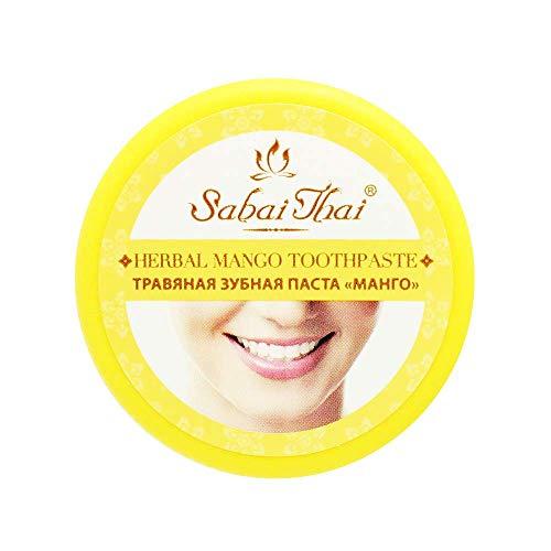 SABAI THAI 100 % Natürliche Kräuter-Mango-Zahnpasta Fluoridfrei, Natürliche Zahnaufhellung, Vegan, Basische Zahnpasta