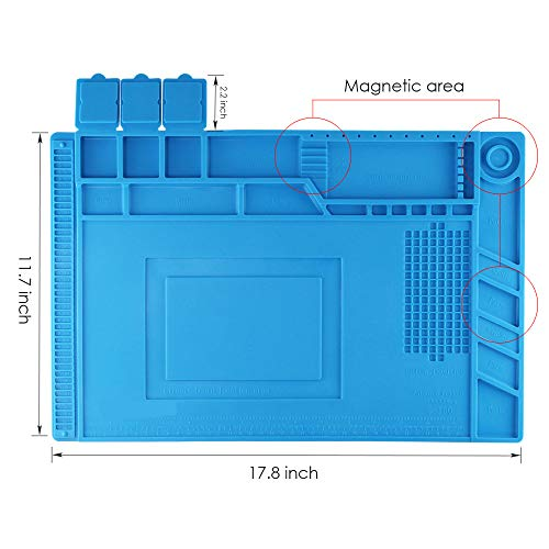 Silicone Repair Mat,Bencisy Heat Insulation Silicone Repair Mat Heat-Resistant Soldering Station Mat for BGA and Gun Soldering Iron, Workbench, Cell Phone Laptop Repair