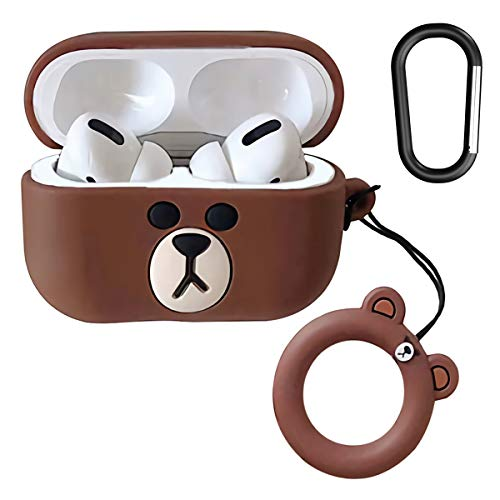 AirPods Pro Case of Winnie The Pooh Bear Soft Silicone Shockproof Cover for Apple Airpods Pro, New 3D Cute Cartoon Creative Fun Case Skin with Keychain Design for AirPods Pro Charging Case 2019