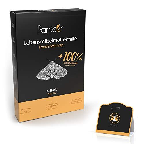 Panteer ® Lebensmittelmottenfalle - 100% mehr Pheromone gegen Lebensmittelmotten - Höhere Lockwirkung - Mottenfalle Lebensmittel - 6 Stück