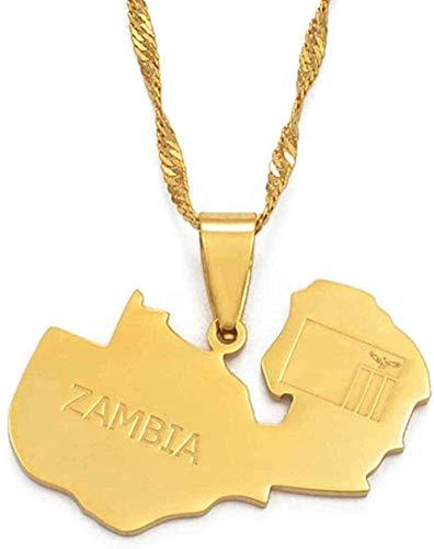 WYDSFWL Collar Zambia Mapa Bandera Colgantes y Collares Color Oro Zambia Joyería Regalos Collar Collar