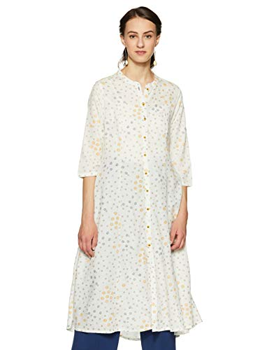 Rangmanch by Pantaloons Women's Rayon a-line Kurta (110050052_ Off White_ Medium)