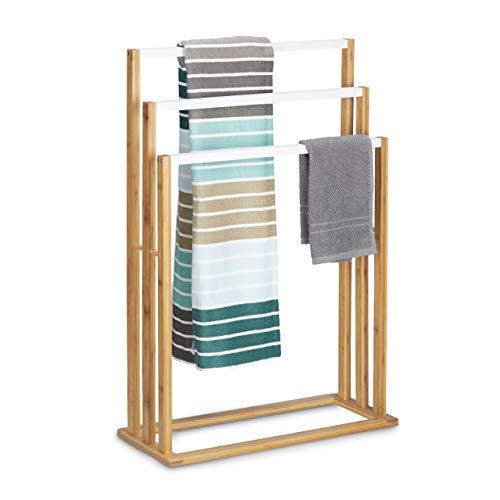 Relaxdays Bambus H x B x T: ca. 82 x 54 x 24 cm treppenförmiger Handtuchhalter mit 3 Handtuchstangen als Elegantes Badaccessoire für Handtücher im natürlichem Stil, Natur Handtuchständer, weiß