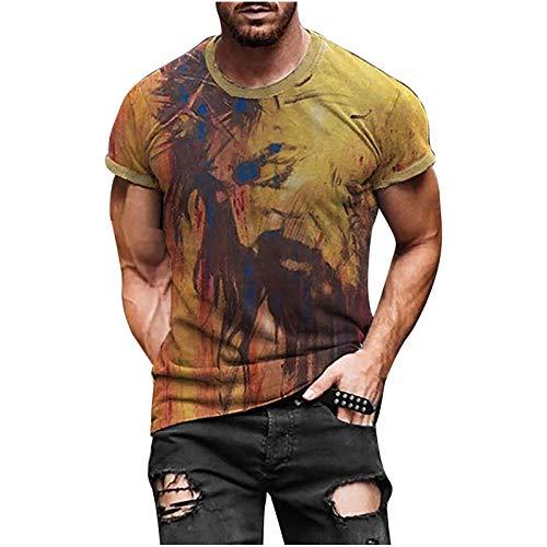 Camisetas Manga Corta Hombre Estilo éTnico Retro Tops Shirt De Hombre AlgodóN De Cuello Redondo Transpirable En Verano Short-Sleeve Crewneck Cotton Deportivo T-Shirt For Men Pullover