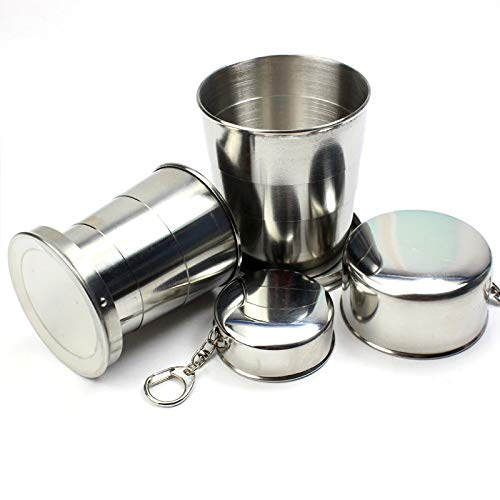 Nuca 75ml/150ml/250ml Stainless Steel Folding Cup Portable Outdoor Travel Camping Telescopic Cup with Keychain Water Coffee Handcup