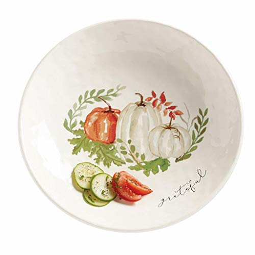 Mud Pie Home'Grateful' Pumpkin and Vine Pasta Mottled Ceramic Serving Bowl- 3' x 14'