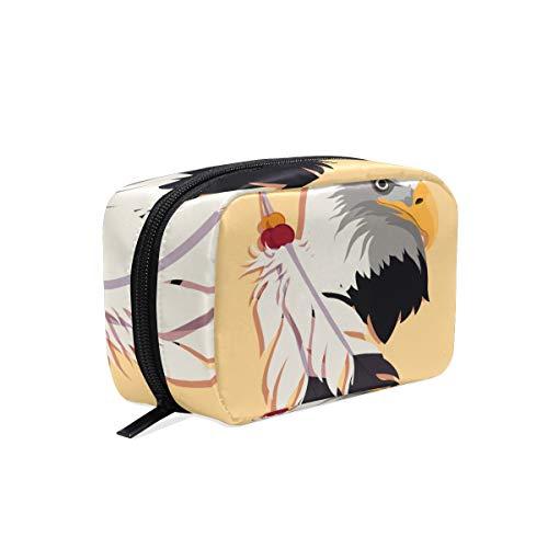 FANTAZIO Kosmetiktaschen für Frauen, Weißkopfadler und Federn, Make-up-Tasche