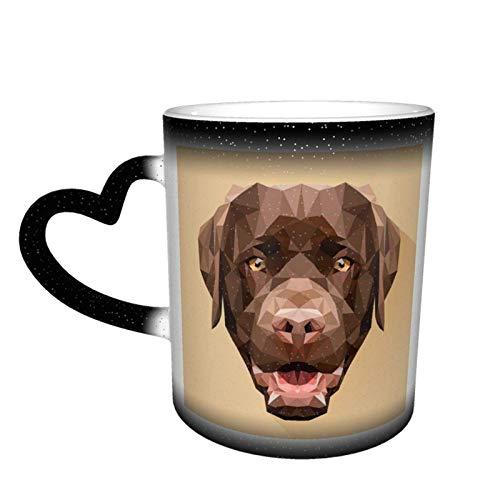 Cabeza de perro Lindo Labrador Retriever Debe tener perros de raza pura Regalos Café sensible al calor Tazas mágicas Color Café lindo T