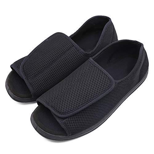 Men's Open Toe Diabetic Recovery Slippers, Adjustable Orthopedic Wide Width Walking Shoes for Arthritis Edema Swollen Feet Elderly Men Black