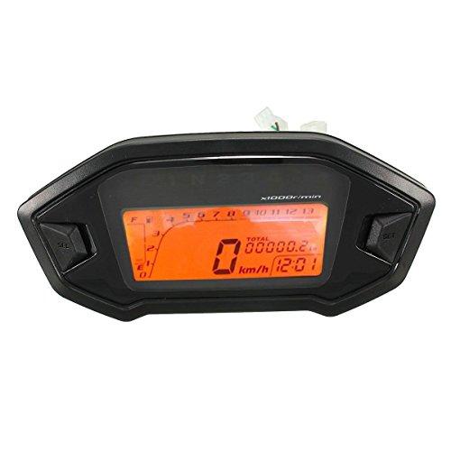 Odometro LCD - SODIAL(R)Oodometro velocimetro velocimetro calibrador universal de retroiluminacion LCD digital de motocicleta