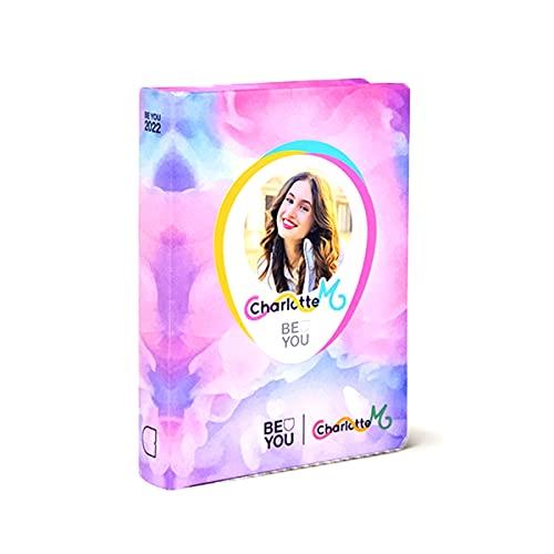 DIARIO SCUOLA Be You Be Charlotte - u Be yourself standard rosa 2021-2022 + omaggio penna con paillettes 6 colori in 1 e portachiave con paillettes
