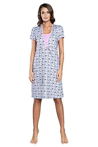 Italian Fashion IF Camicia da Notte Premaman Allattamento, Perfetta per Ospedale per Il Parto, Cotone Morbido, Regalo per la Mamma