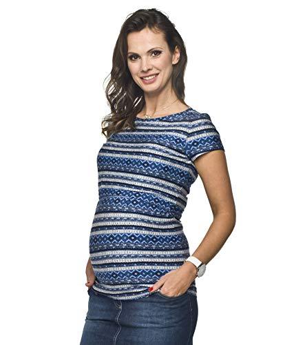Torelle Damen 2in1 Umstandsshirt mit Stillfunktion, Modell: GAJA, Kurzarm, blau-Weiss, XL