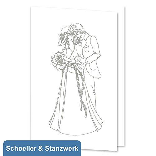 10 Stück Einladungs-/Danksagungskarten zur Hochzeit/Verlobung/Silberhochzeit mit silber geprägtem Hochzeitspaar inklusive 10 weißen Briefumschlägen - Schoeller & Stanzwerk