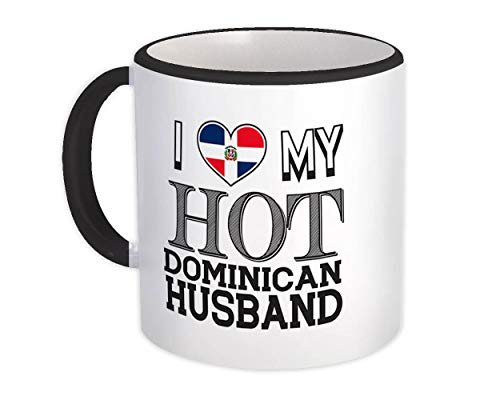 Amo a mi caliente esposo dominicano : Taza del regalo del día de San Valentín de la bandera de República