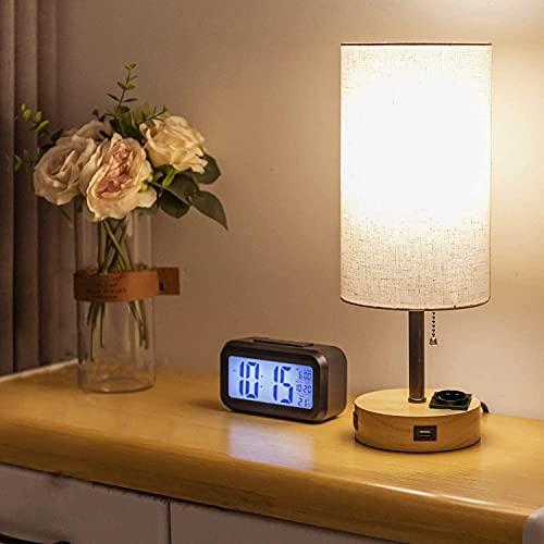 Depuley Tischlampe Wohnzimmer Led Schreibtischlampe Modern E27 Nachttischlampe Rund, mit 2 USB+Steckdose, 3000k Warmweiß, Lampenschirm, Tischleuchte aufladbar für Schlafzimmer Kinderzimmer Geschenk