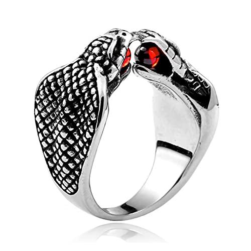 Kettles Edelstahl Gothic Punk Ring Silber Schwarz Schlange Ring Hiphop Legierung Mode Tier Kobra Vintage Schmuck Ringe mit Edelstein Für Frauen Männer (Size : X-Large)