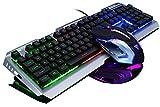 PREUP Teclado Mecánico Gaming y Ratón con Cable combinado RGB retroiluminado con teclas multimedia, reposamuñecas y ratón para juegos con retroiluminación roja de 3200 DPI para Windows PC Gamers