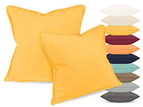Gözze 2er Pack Kissenhülle Angora Feeling Markenqualität in 10 Farben 1333.2037, gelb, ca. 50 x 50 cm