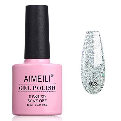 AIMEILI Esmalte Semipermanente De Uñas Soak Off UV LED Uñas De Gel Silver Glitter 10ml