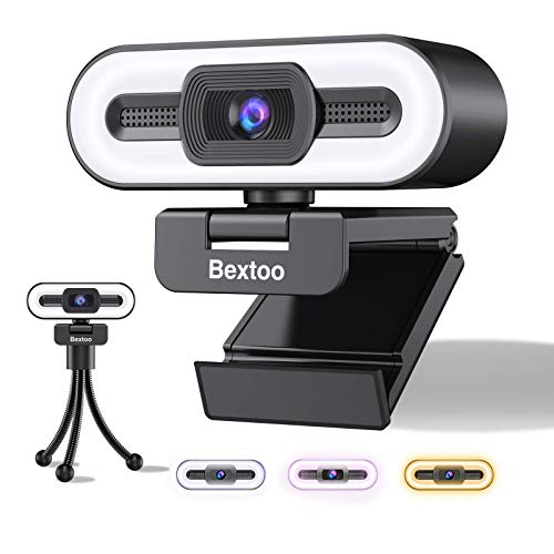 1080P Webcam mit mikrofon und Dreifarbiges Ring Fulllicht USB Webcam Bextoo mit Stativ Plug and Play fur Desktop Notebook Web Camara fur Streaming Konferenzen Live Ubertragungen und Videoanruf