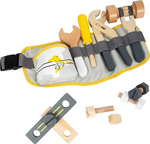Small Foot 11807 Werkzeuggürtel Miniwob, verstellbar und mit verschiedenen Werkzeugen aus Holz,...