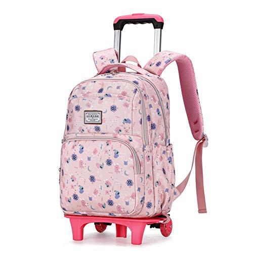 XWWS Trolley Schoolbag - Girl Beautifully Printed Wheeled Backpack, Large-Capacity Bag Waterproof Removable, Best Gift,Lightpink,Bigwheel
