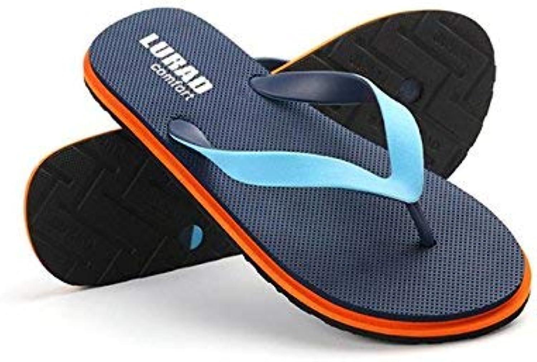 FuweiEncore Flip-Flops Summer Beach Men's Slip-On Light Comfort Cooler Flip Flops (color   42, Size   bluee)