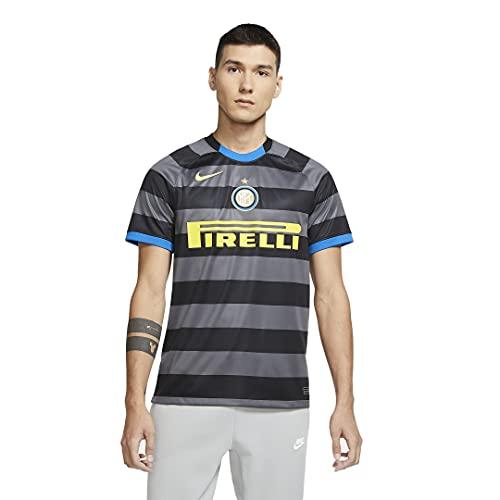 Nike Inter M NK BRT STAD JSY SS 3R, T-Shirt Uomo, Dark Grey/(Tour Yellow) (Full Sponsor), L