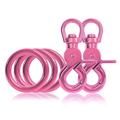 Ganzoo 3 x O - Ring aus Stahl und 2 x Scheren-Karabiner Haken mit Dreh-Gelenk/Dreh-Kopf im Set, DIY Hunde-Leine/Hunde-Halsband, nichtrostend, Ideal mit Paracord 550, Farbe: pink