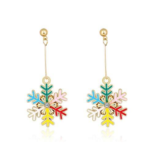Cuawan 1 Pair Christmas Earrings Snowflake Santa Claus Antelope Xmas Tree Ear Pendant Gift for Friend