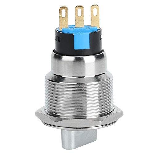Interruttore a pulsante a scatto 19 mm SPDT ON/OFF Guscio in acciaio inossidabile argento con LED rosso da 220 V Adatto per foro di montaggio da 19 mm 3/4'((3 Pin And 2 Level))